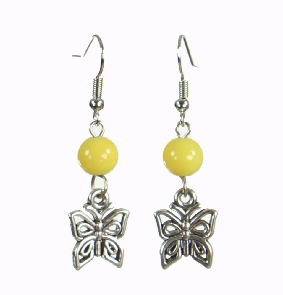 Boucles d'oreilles originales papilly jaune 249935