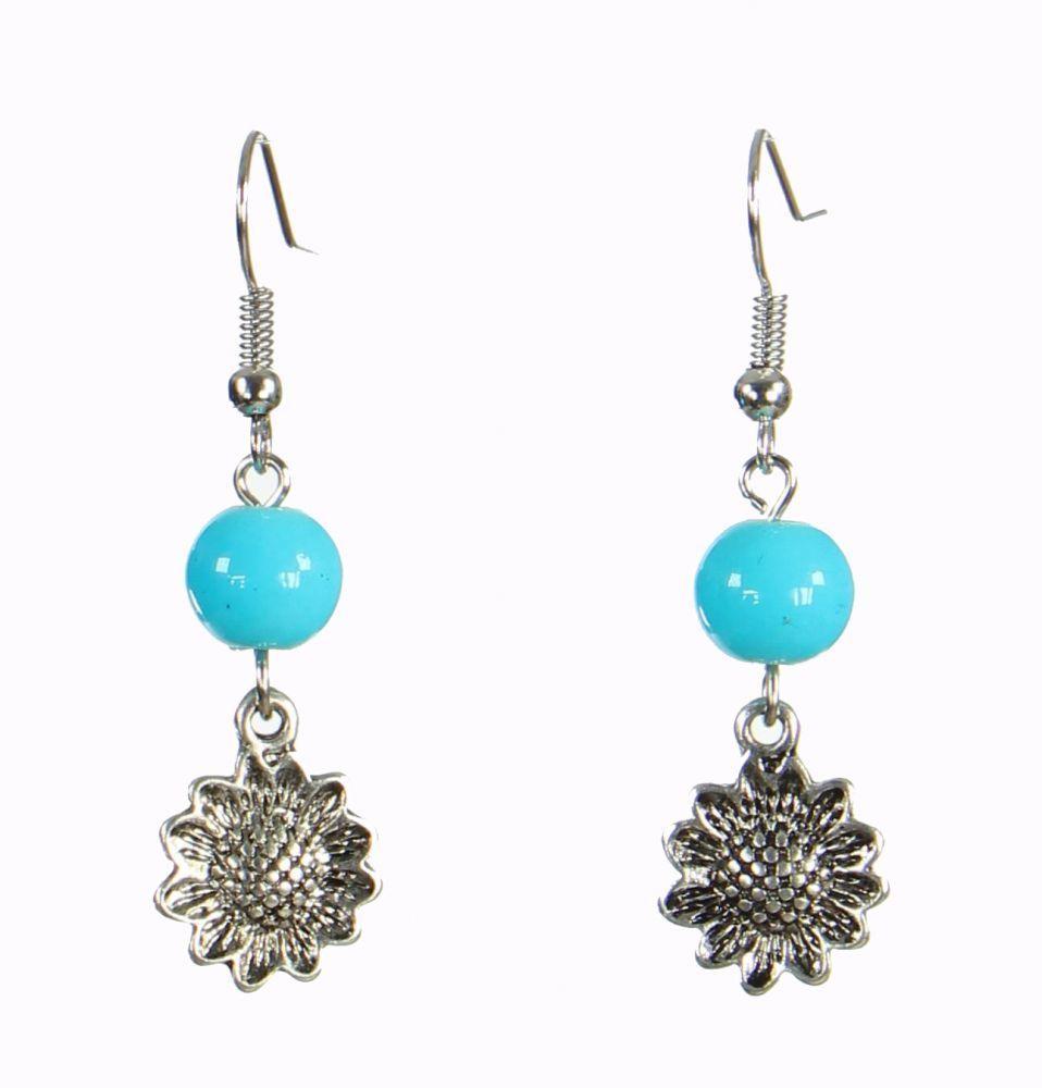 Boucles d\'oreilles originales tournesol bleue 249923