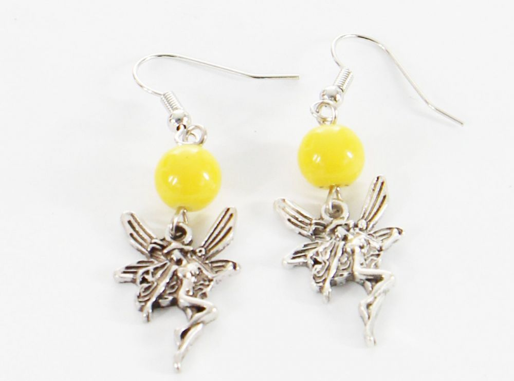 Boucles d\'oreilles pendentif elfe perle jaune 246474
