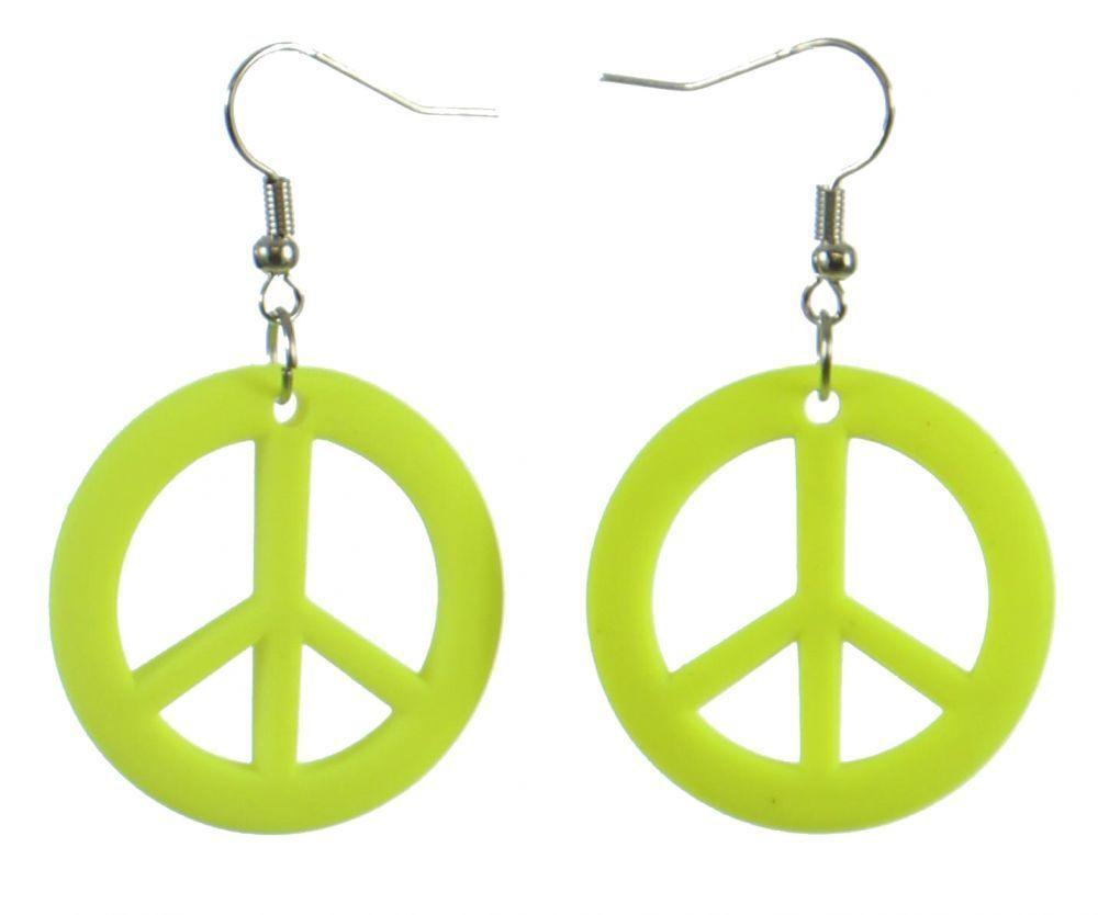 Boucles d\'oreilles pendentif peace jaune fluo 246987