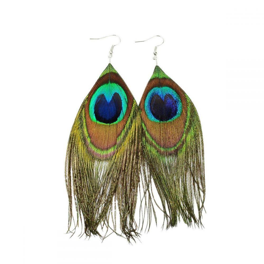 Boucles d'oreilles pendentif plume paon 246491