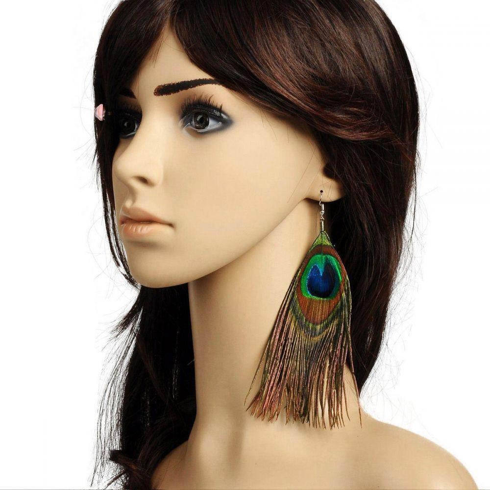 Boucles d'oreilles pendentif plume paon 256142