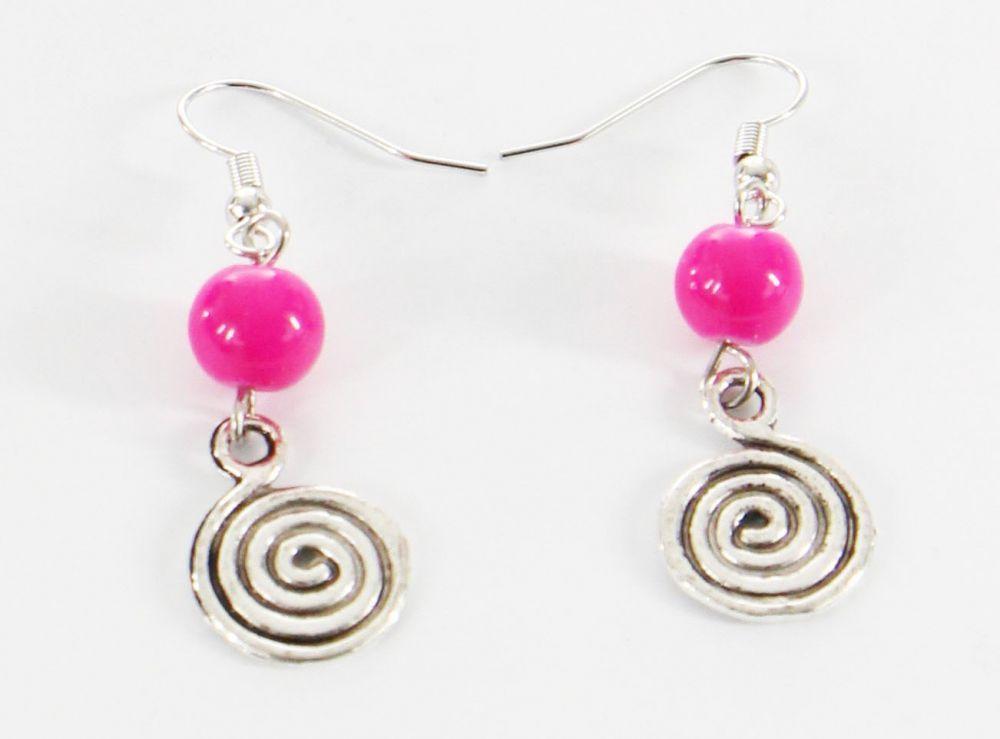 Boucles d\'oreilles pendentif spirale perle rose 246464