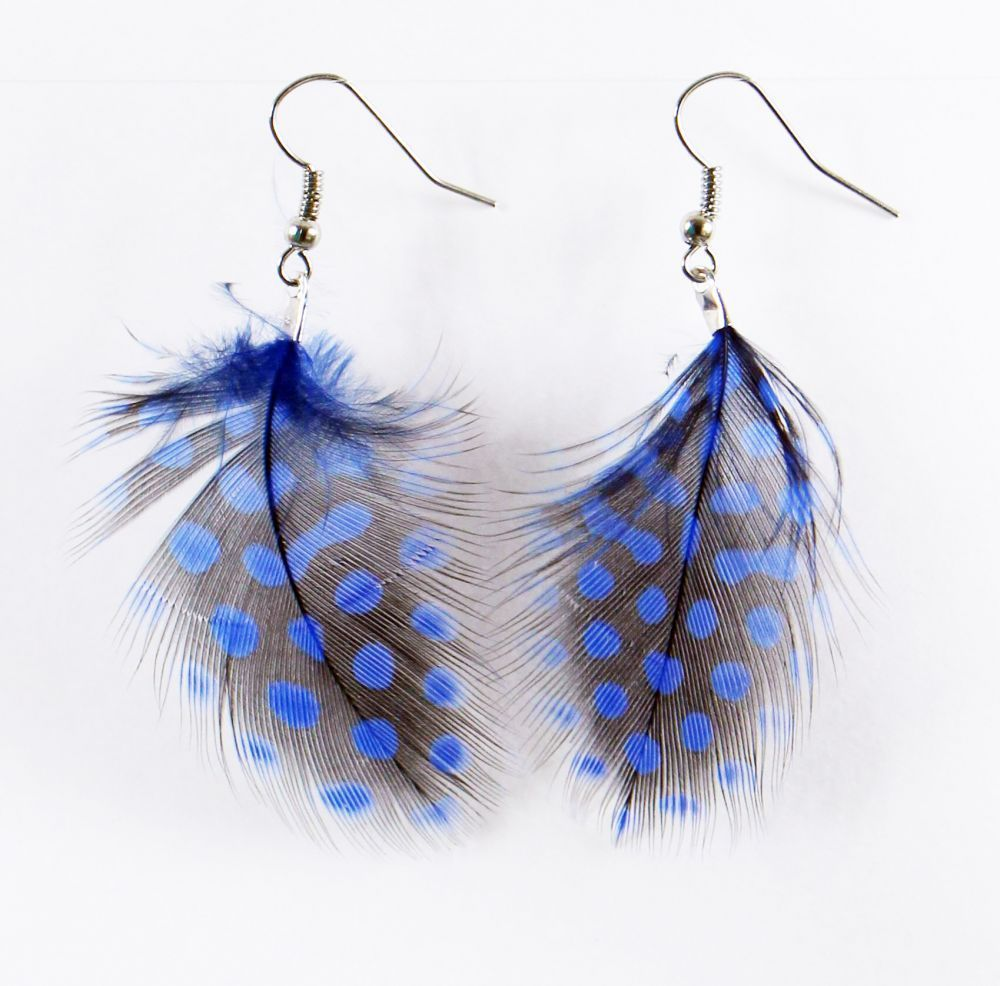 Boucles d'oreilles petite plume colorée bleu foncé 246952