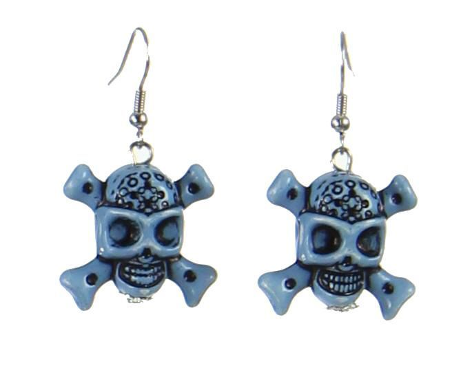 Boucles d\'oreilles tête de mort  bleu 247646