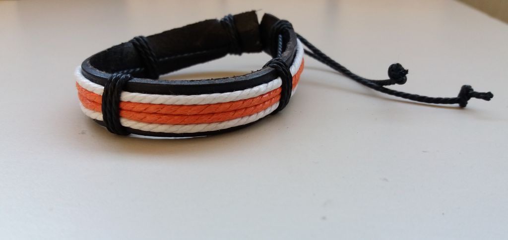 Bracelet cuir blanc et orange