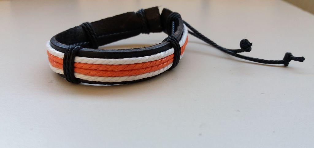 Bracelet cuir blanc et orange