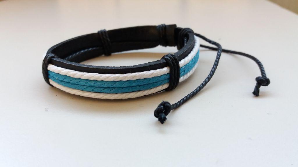Bracelet cuir bleu et blanc