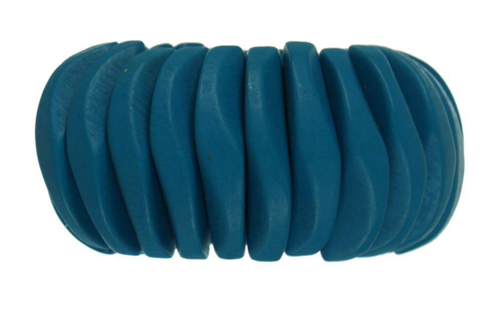 Bracelet élastique en bois bleu turquoise 247436