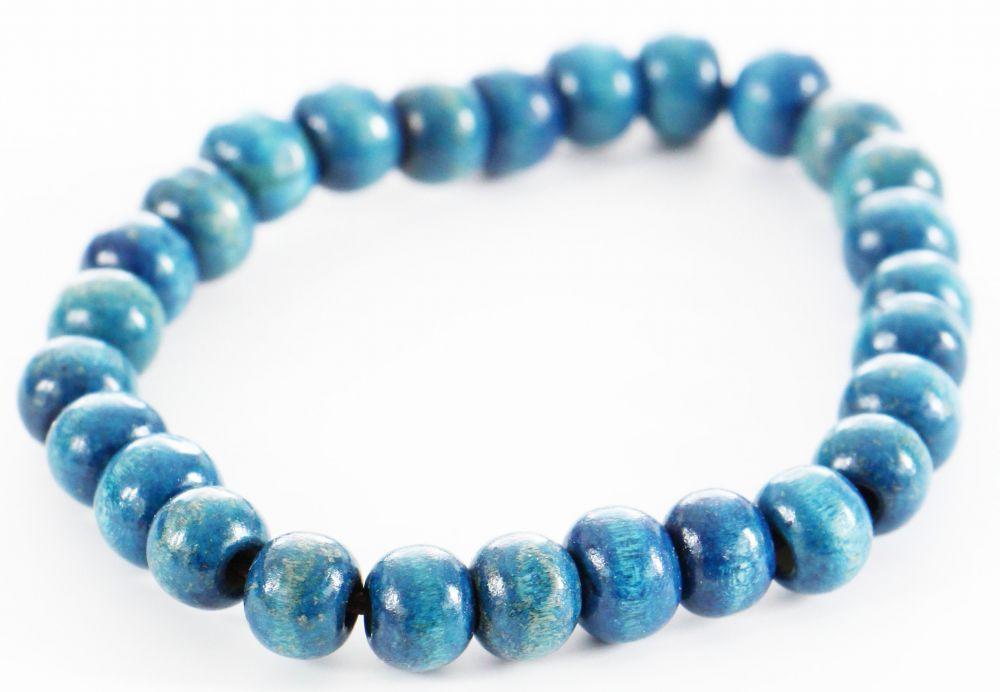 Bracelet élastique perles en bois bleu pétrole 246504