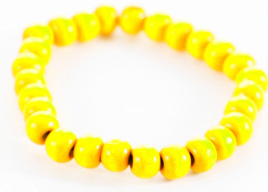 Bracelet élastique perles en bois jaune fluo 303317