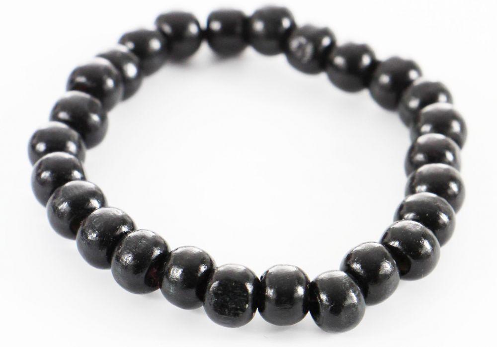 Bracelet élastique perles en bois noire 246501