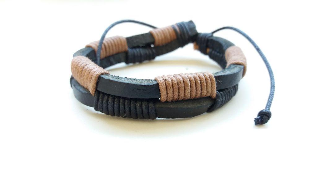 Bracelet en cuir de vache Noir et marron