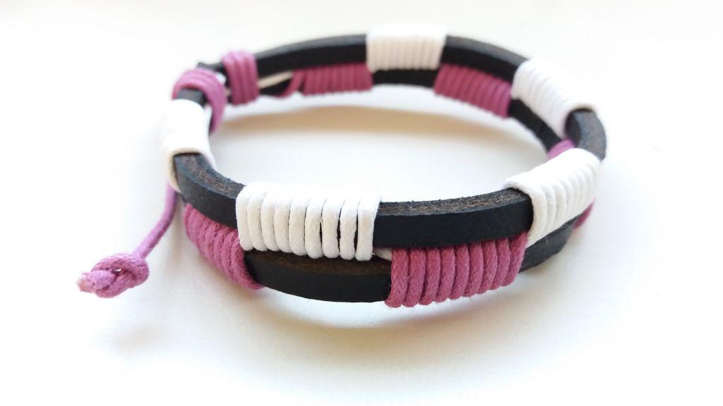 Bracelet en cuir de vache rose et blanc 303391
