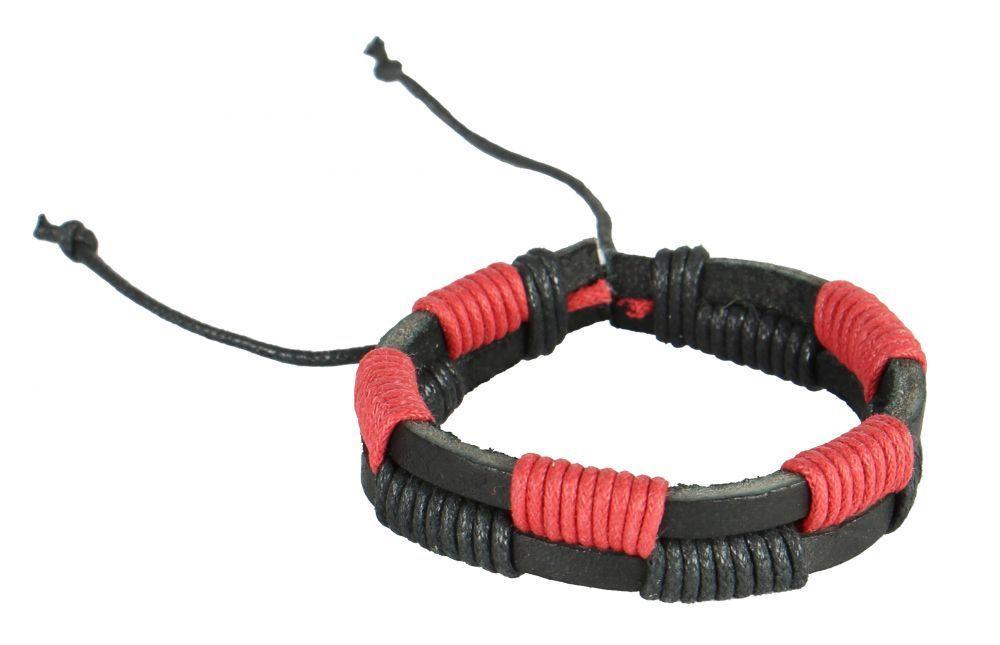 Bracelet mixte en cuir et cordon ciré chipsy rouge et noir 246837