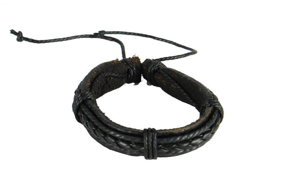 Bracelet mixte en cuir et cordon ciré classik noir 246848