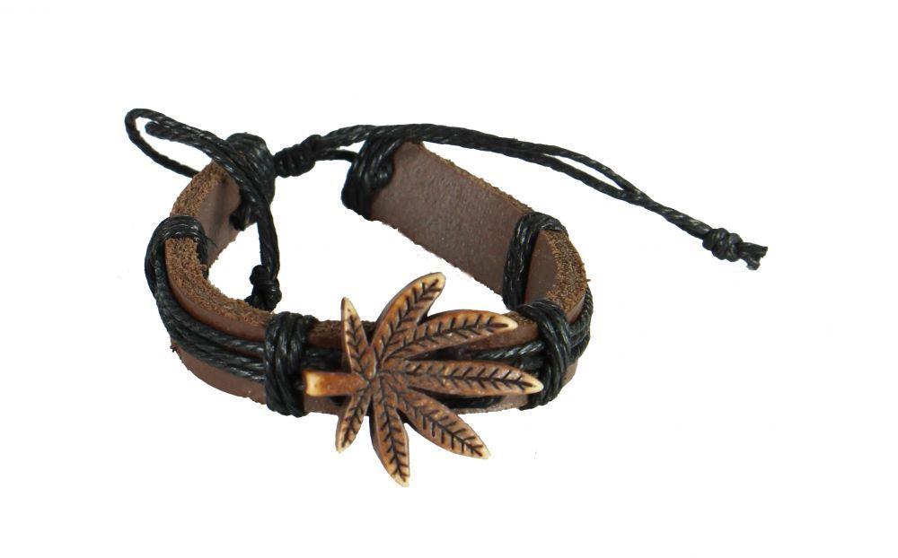 Bracelet mixte en cuir et cordon ciré feuille chanvre 246843