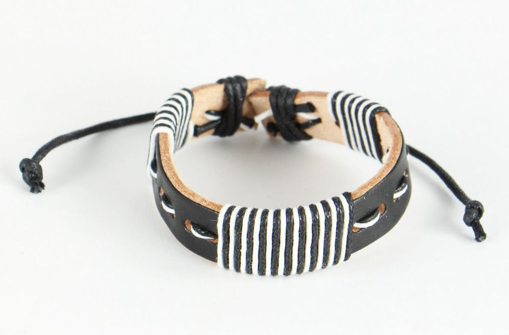 Bracelet mixte en cuir et cordon ciré forcing black and white 246842