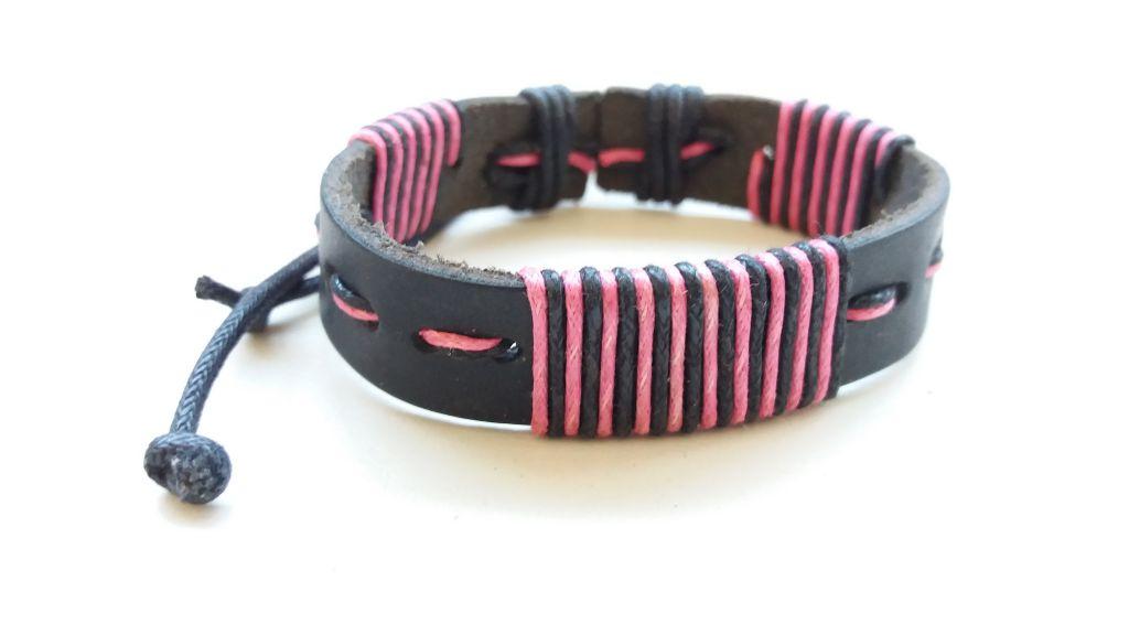 Bracelet mixte en cuir et cordon ciré forcing noir et rose