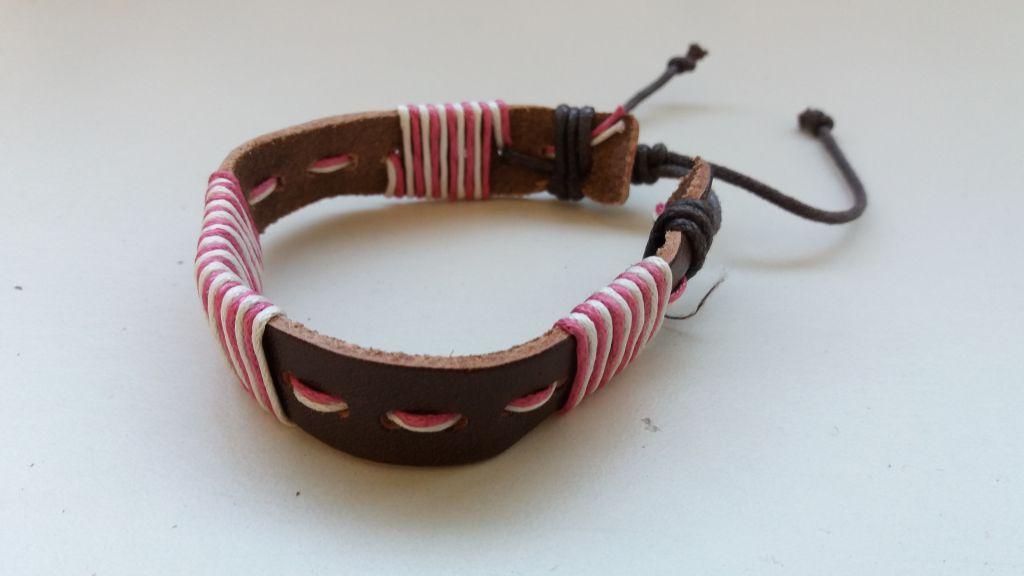 Bracelet mixte en cuir et cordon ciré forcing rose et blanc