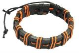 Bracelet mixte en cuir et cordon ciré orange 246691