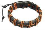 Bracelet mixte en cuir et cordon ciré orange 246691
