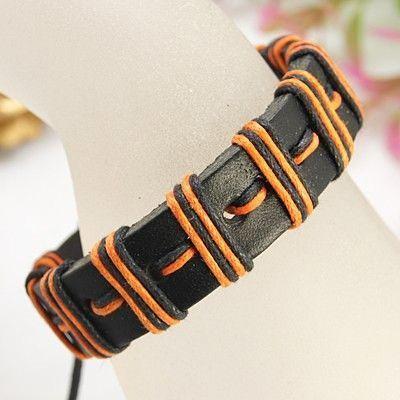Bracelet mixte en cuir et cordon ciré orange 256213