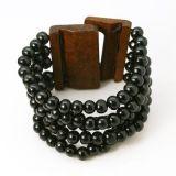 Bracelet multirangs de perles avec fermoir en bois noir 246672