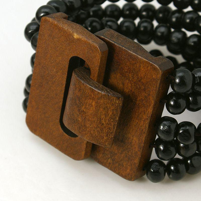 Bracelet multirangs de perles avec fermoir en bois noir 256198