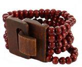 Bracelet multirangs de perles bordeau avec fermoir en bois Marie 246373