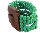 Bracelet multirangs de perles émeraude avec fermoir en bois 303308