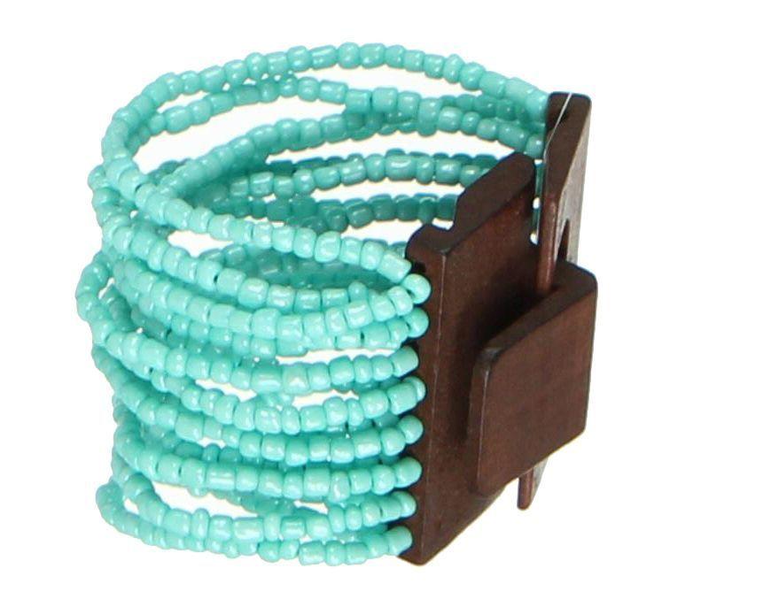 Bracelet multirangs de perles en acrylique bleues avec fermoir en bois 247603