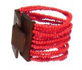 Bracelet multirangs de perles en acrylique cerise avec fermoir en bois 303313