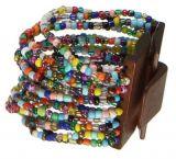 Bracelet multirangs de perles en acrylique multicolors avec fermoir en bois 247608