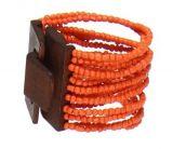 Bracelet multirangs de perles en acrylique oranges avec fermoir en bois 247606