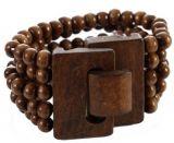 Bracelet multirangs de perles marron avec fermoir en bois 246393