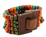 Bracelet multirangs de perles multicolor 1 avec fermoir en bois Marie 246372