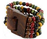 Bracelet multirangs de perles multicolores 5 avec fermoir en bois Marie 246392
