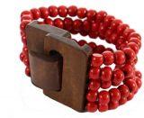 Bracelet multirangs de perles rouge avec fermoir en bois 246389