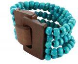 Bracelet multirangs de perles turquoise avec fermoir en bois 246371