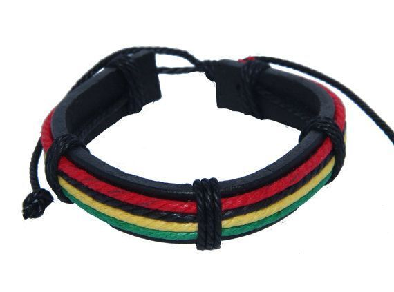 Bracelet rasta vert jaune rouge en cuir Bob 246748