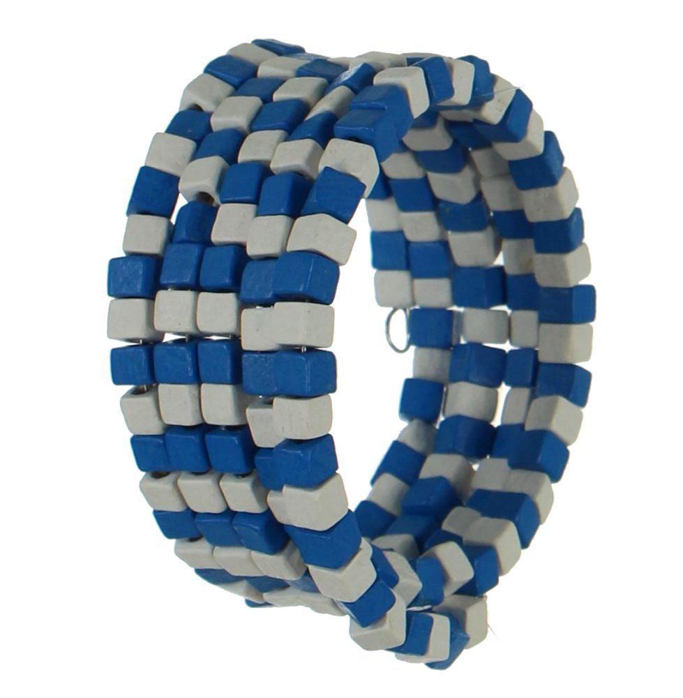Bracelet spirale en bois roudou blanc et bleu 247467