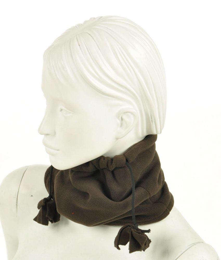 Cache-col 2en1 bonnet en polaire marron 255071