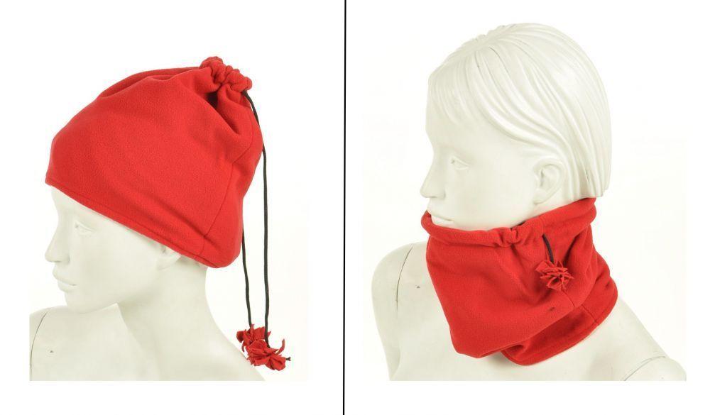 Cache-col 2en1 bonnet en polaire rouge 245035