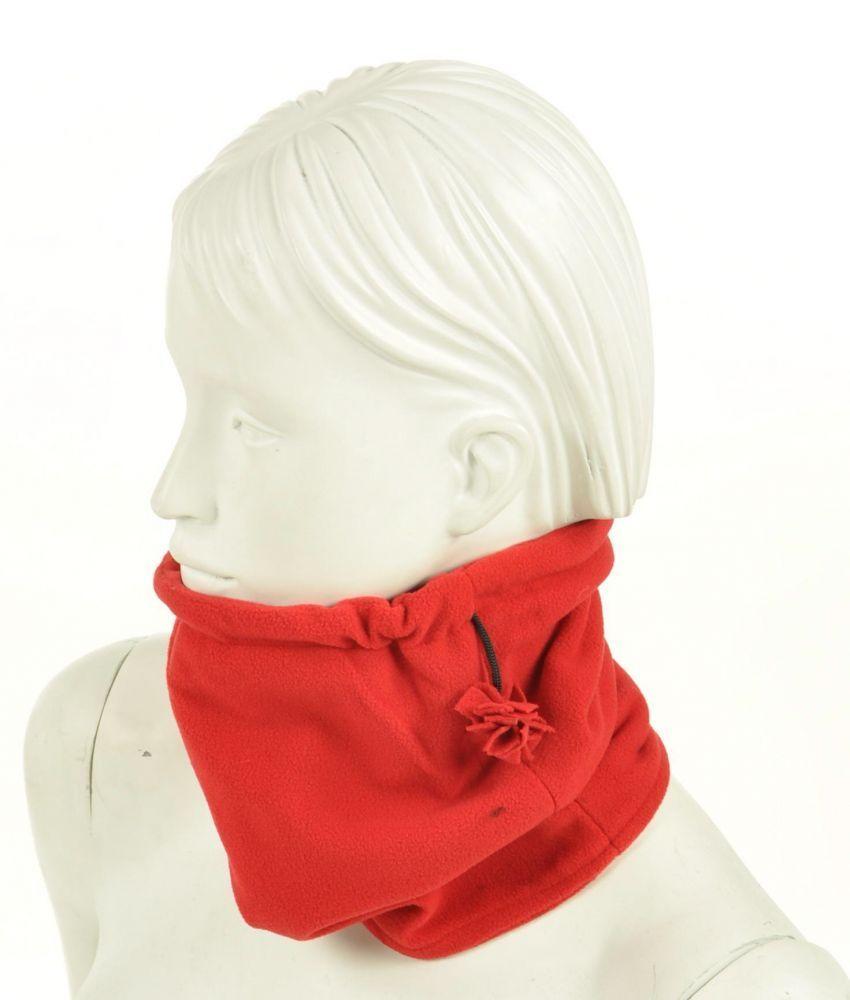 Cache-col 2en1 bonnet en polaire rouge 255067