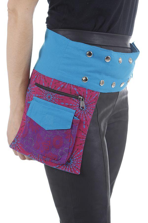 Ceinture pour femme multi-poches réglable et ethnique Zya 310451