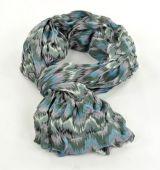 Chèche foulard imprimé  gris/bleu en coton 244757