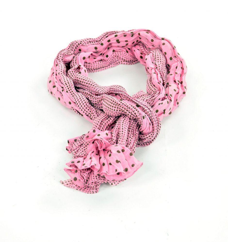 Chèche foulard imprimé à pois rose et marron en coton 245020