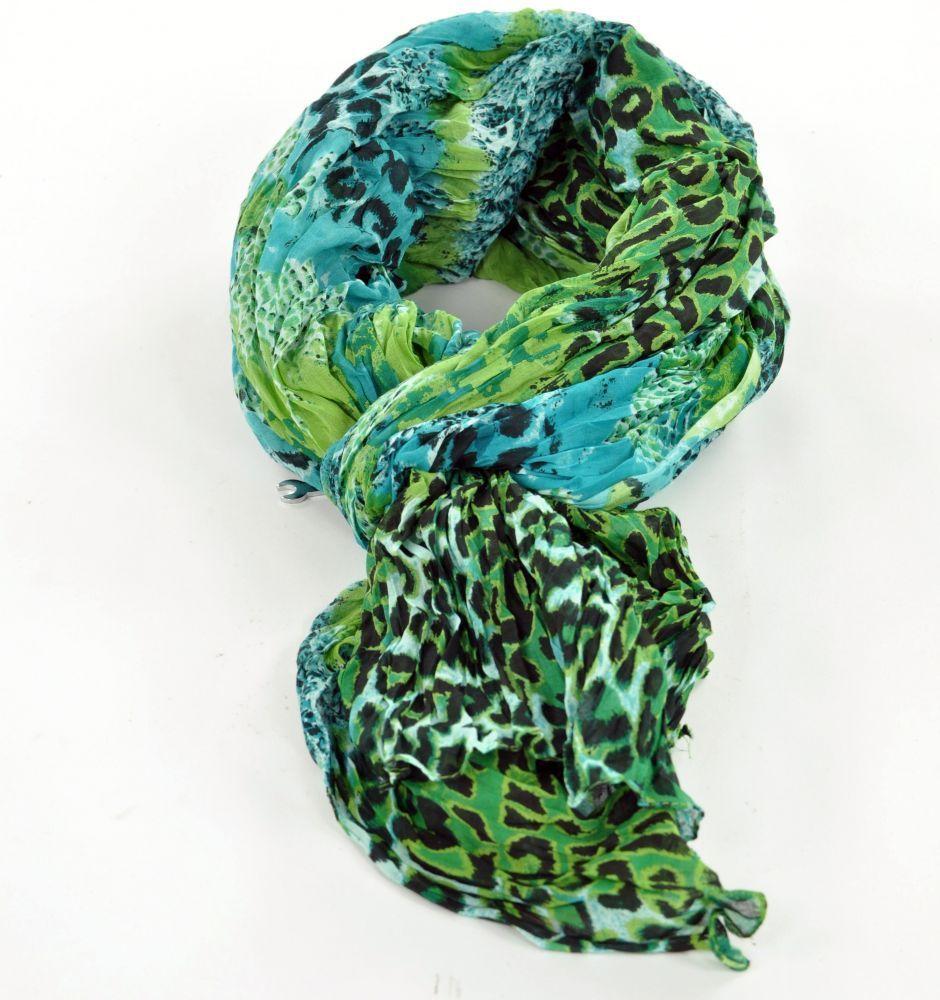 Chèche foulard imprimé leopard bleu/noir/vert en coton 245015