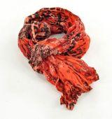 Chèche foulard imprimé léopard rouge en coton 245012